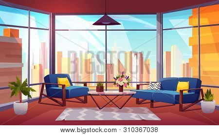 Hotel Suite, Office Lounge Area, Condominium Apartment Living Room Cartoon Vector Interior. Comforta
