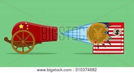 China Cannon Shotting At A Usa Delivery Box. Trade War - Vector