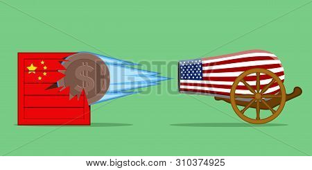 Usa Cannon Shooting At A Chinese Delivery Box. Trade War - Vector