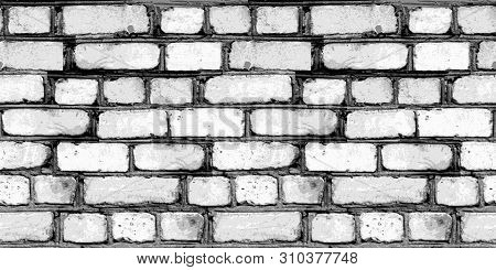 White Brick Wall Abstract Background. Seamless Texture Of Bricks. Template For Design.