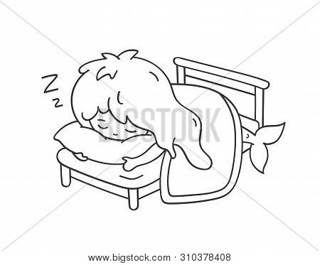 Sleeping Mermaid Hugging A Pillow. Cute Cartoon Character For Emoji, Sticker, Pin, Patch, Badge. Vec