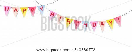 Flags Banner With Happy Birthday Letters Color