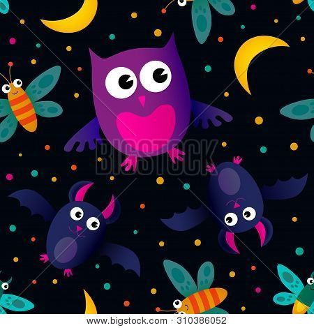 Vector Seamless Pattern With Owl, Moon, Stars, Bat, Night Butterfly. Beautiful Repeated Texture With