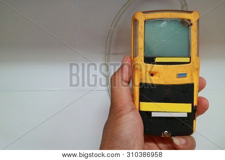 Personal H2S Gas Detector,Check gas leak. Safety concept of safety and security system on offshore o