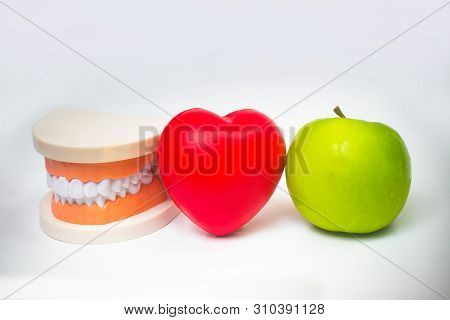 False Teeth Denture Against Green Apple. Dental Prosthesis Care. Denture And Apple In The Hands Of A