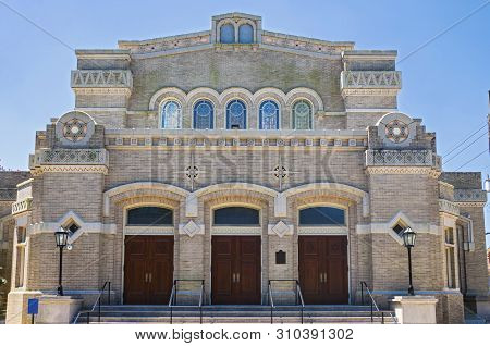Historic Synagogue Building Entrance And Facade In New Orleans