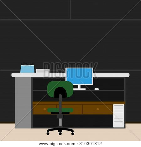 Colored Business Workspace With Different Objects Like Chairs, Desk And Computer - Vector