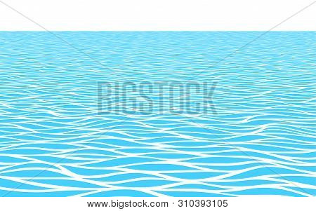 Blue Water Waves Perspective Landscape. Monochrome Vector Pattern