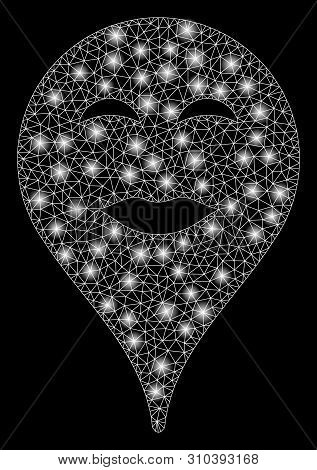 Glowing Mesh Lady Pleasure Smiley Map Marker With Glitter Effect. Abstract Illuminated Model Of Lady