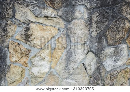 Old Weathered Stone Masonry Wall With Cement Close Up Pattern, Horizontal Stock Photo Image Backgrou