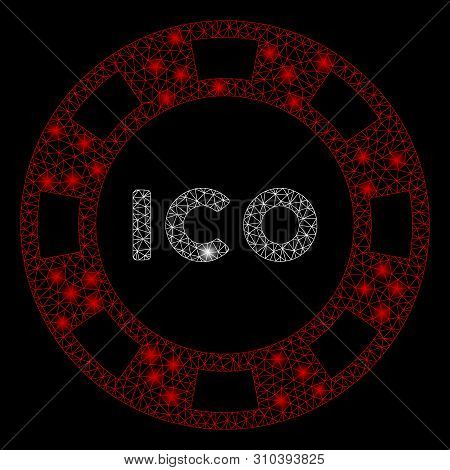 Glowing Mesh Ico Token With Glitter Effect. Abstract Illuminated Model Of Ico Token Icon. Shiny Wire