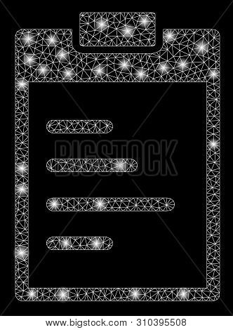 Flare Mesh Inventory Pad With Glow Effect. Abstract Illuminated Model Of Inventory Pad Icon. Shiny W