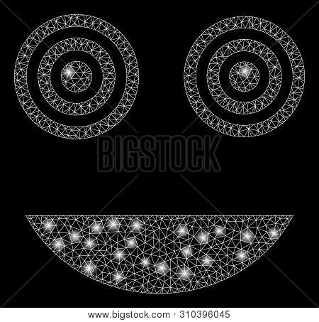 Glossy Mesh Mad Smiley With Glare Effect. Abstract Illuminated Model Of Mad Smiley Icon. Shiny Wire