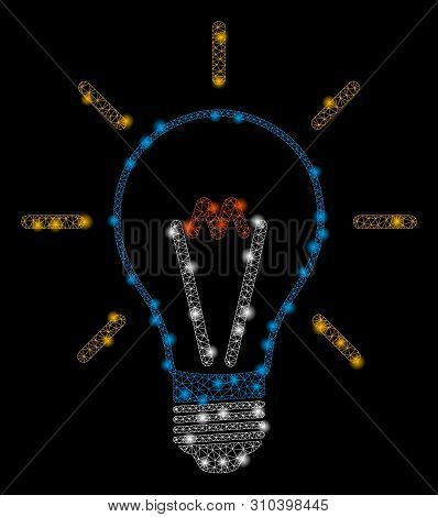 Glowing Mesh Invent Bulb With Glare Effect. Abstract Illuminated Model Of Invent Bulb Icon. Shiny Wi