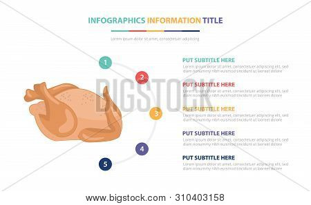 Chicken Raw Infographic Template Concept With Five Points List And Various Color With Clean Modern W