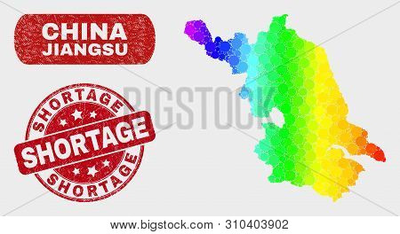 Rainbow Colored Dotted Jiangsu Province Map And Seal Stamps. Red Rounded Shortage Scratched Seal. Gr