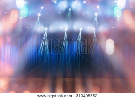 Blurred Multicolored Bokeh Lights On Stage, Abstract Image Of Show Or Concert  Lighting