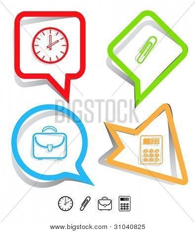 Business icon set. Clip, calculator, briefcase, clock.  Paper stickers. Vector illustration.