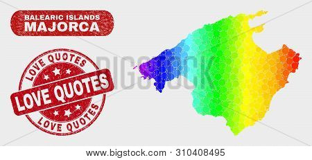 Spectral Dotted Majorca Map And Seal Stamps. Red Round Love Quotes Textured Seal Stamp. Gradiented S