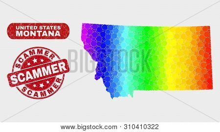 Spectral Dot Montana State Map And Rubber Prints. Red Round Scammer Grunge Seal Stamp. Gradiented Ra