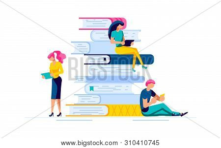 Young Smart Male And Female Readers Sitting On Stack Of Giant Books And Reading. Literature Fans Or