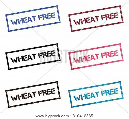Wheat Free Rectangular Stamp Collection. Textured Seals With Text Isolated On White Backgound. Stamp