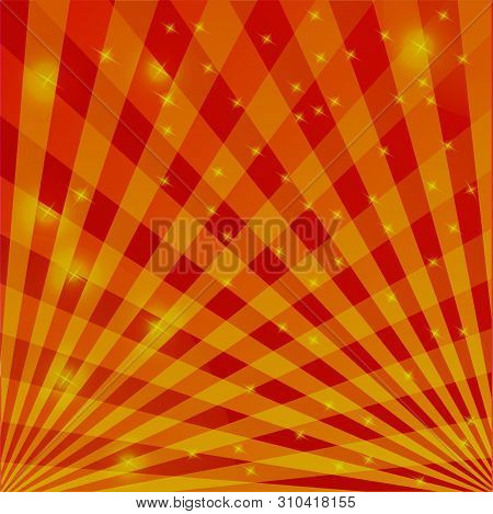 Background In Red And Yellow Tones Of Intersecting Lines With Flickering Lights. Great Solution For