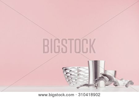 Contemporary Decoration For Minimalistic Design Interior With Silver Polished Geometric Bowls, Old S
