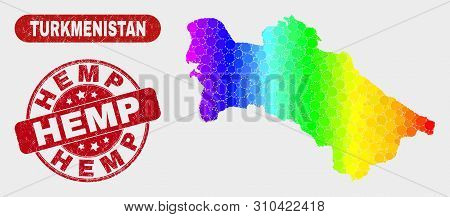 Spectral Dot Turkmenistan Map And Rubber Prints. Red Round Hemp Textured Seal Stamp. Gradient Spectr
