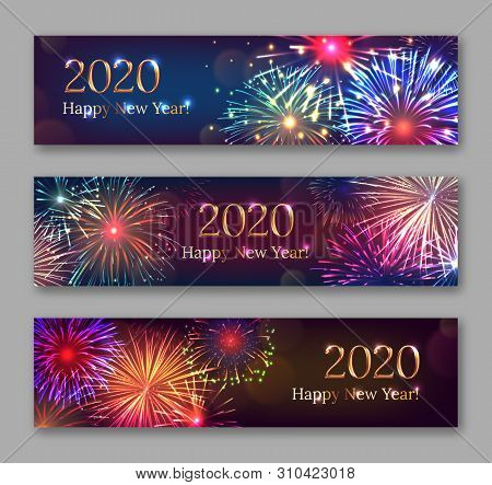 Happy New Year Horizontal Flyers With Bursting Fireworks Series. Festive Template With Copyspace. Re