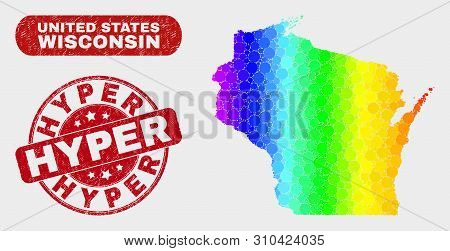 Rainbow Colored Dot Wisconsin State Map And Seal Stamps. Red Round Hyper Scratched Seal. Gradient Ra