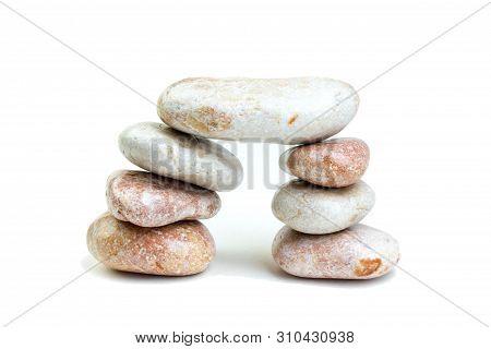 Pile Of White Stones Isolated On White Background.