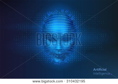 Artificial Intelligence Or Robot Digital Face. Ai Or Cyber, Human Head. Virtual Computer Technology