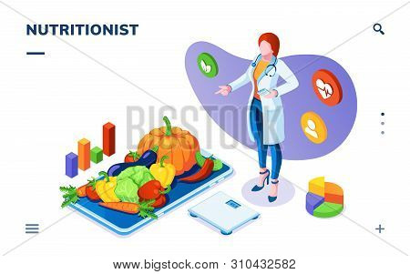 Dietician Or Nutritionist With Vegetables On Plate And Scales. Isometric Page For Dieting, Weight Co