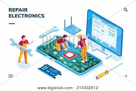 Isometric Page For Electronics Repair Service. Worker With Wrench And Serviceman Repairing Smartphon
