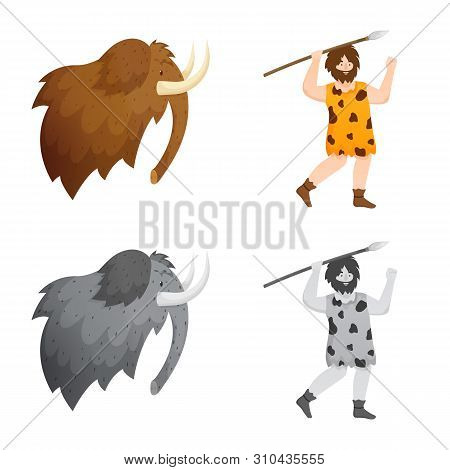 Vector Illustration Of Evolution And Neolithic Logo. Collection Of Evolution And Primeval Stock Symb