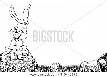 An Easter Bunny Scene In Black And White, Perfect For Printing, Photocopying Or Coloring In