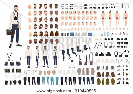 Photographer Or Photo Journalist Constructor Kit Or Diy Set. Collection Of Body Parts, Clothes, Prof