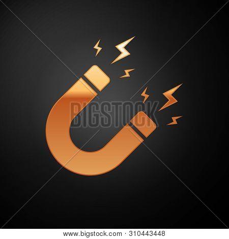 Gold Magnet With Lightning Icon Isolated On Black Background. Horseshoe Magnet, Magnetism, Magnetize