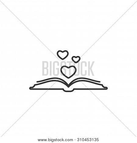 Open Book With Pages And Hearts Flying Out. Isolated On White Background. Bibliophile Flat Line Icon