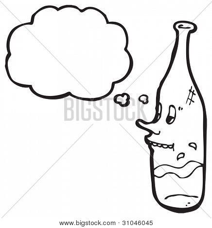 cartoon snooty wine bottle