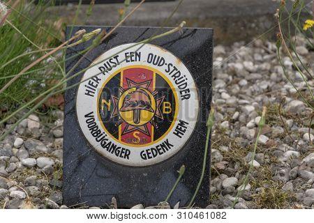 Sint Gillis Waas, Belgium, 08 July 2019. Plaque Of A Belgian Veteran1940-1945 Headed. Here Rests An