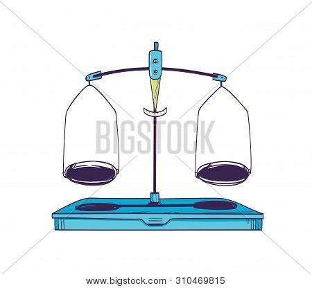 Weighing Scale Or Mass Balance With Two Plates In Equilibrium Isolated On White Background. Laborato