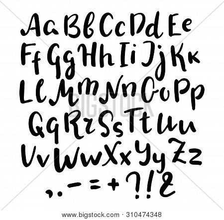 English Alphabet Handwritten Vector Script On White Background. Brush Pen Type. Informal Handwriting