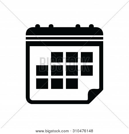 Save Download Preview Calendar Icon Isolated Black On White Background, Calendar Icon Vector Flat Mo