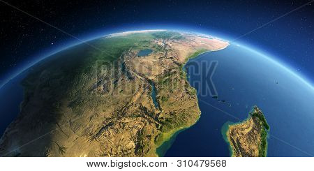 Highly Detailed Planet Earth. Exaggerated Precise Relief Lit Morning Sun. East Africa. Mozambique, T