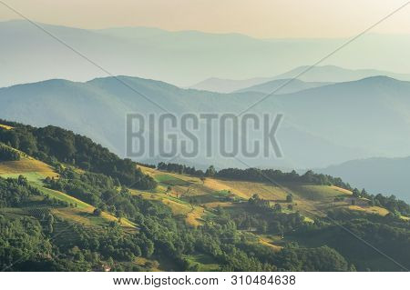 Mountain Range Nature Landscape. Mountain Layers Landscape. Summer In Mountain Meadow Landscape. Mea