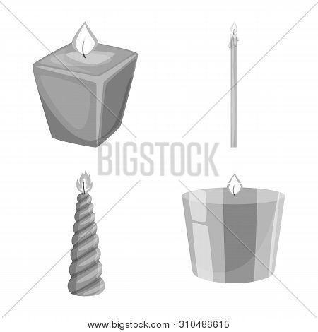 Vector Illustration Of Paraffin And Fire Logo. Set Of Paraffin And Decoration Vector Icon For Stock.
