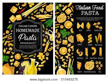 Pasta, Italian Food Vector Menu With Homemade Macaroni, Herbs, Spices And Olive Oil. Spaghetti, Farf