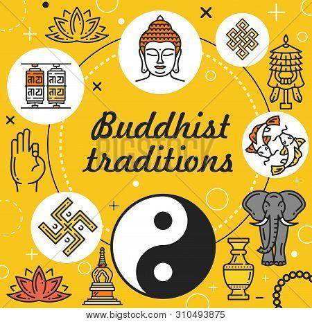 Buddhist Traditions Vector Design Of Buddhism Religion. Buddha, Lotus Flower And Yoga, Zen, Om Mantr